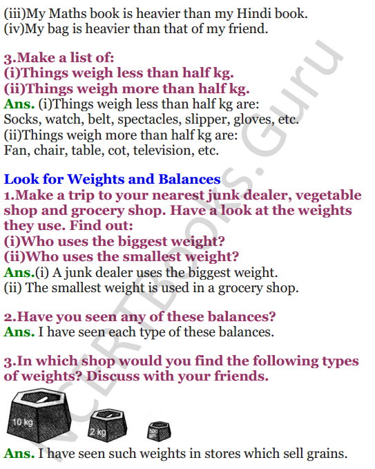 NCERT Solutions for class 3 Mathematics Chapter-8 Who is Heavier 4