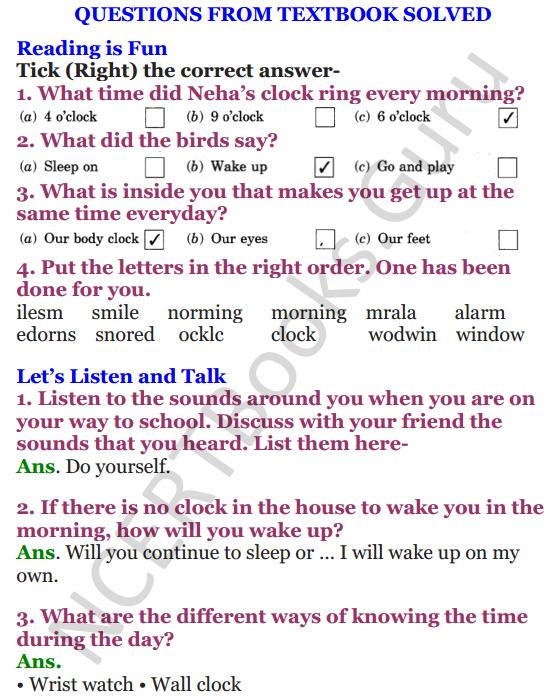NCERT Solutions for Class 4 English Unit-1 Neha's alarm clock 1