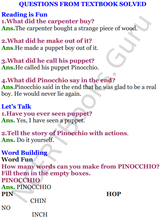 NCERT Solutions for Class 4 English Unit-10 Pinocchio 1