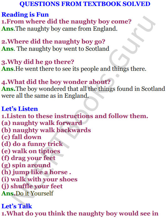 NCERT Solutions for Class 4 English Unit-10 Poem The Naughty boy 1
