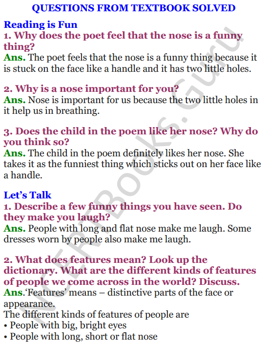NCERT Solutions for Class 4 English Unit-2 Poem Noses 1