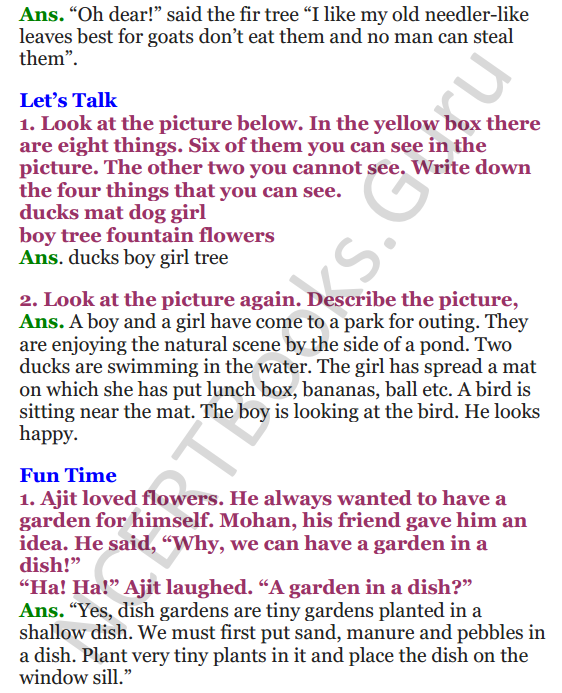 NCERT Solutions for Class 4 English Unit-2 The little fir tree 3