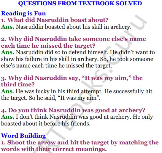 NCERT Solutions for Class 4 English Unit-3 Nasruddin's Aim 1