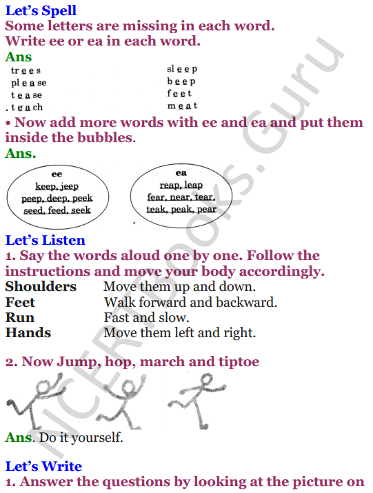 NCERT Solutions for Class 4 English Unit-3 Poem Run 2