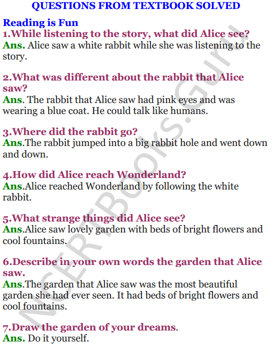 NCERT Solutions for Class 4 English Unit-4 Alice in wonderland 1