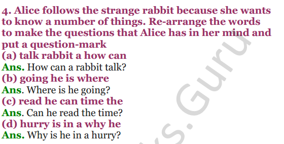 NCERT Solutions for Class 4 English Unit-4 Alice in wonderland 4