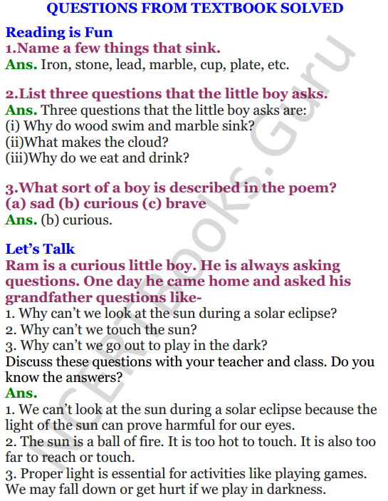 NCERT Solutions for Class 4 English Unit-4 Poem Why 1