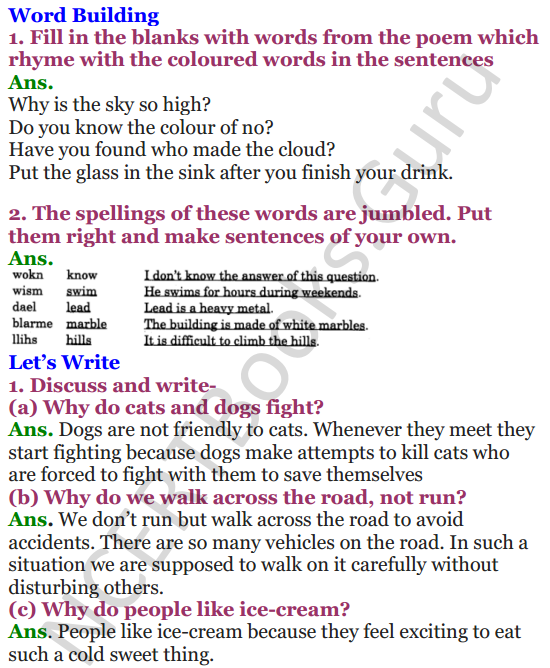 NCERT Solutions for Class 4 English Unit-4 Poem Why 2