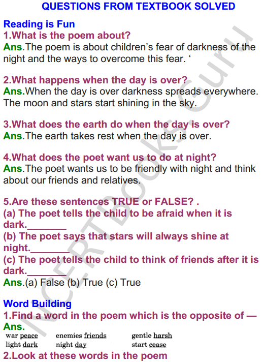 NCERT Solutions for Class 4 English Unit-5 Poem Pont be afraid of the dark 1