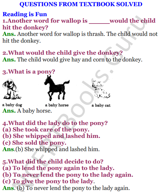 NCERT Solutions for Class 4 English Unit-6 I had a little Pony 1