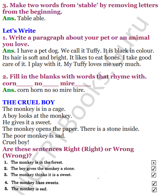 NCERT Solutions for Class 4 English Unit-6 I had a little Pony 3