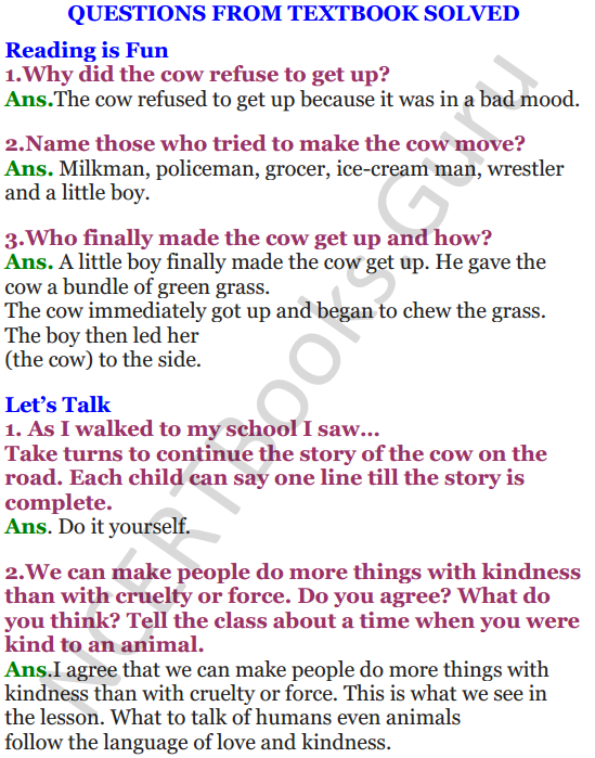 NCERT Solutions for Class 4 English Unit-6 The milkman's cow 1