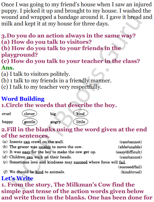 NCERT Solutions for Class 4 English Unit-6 The milkman's cow 2