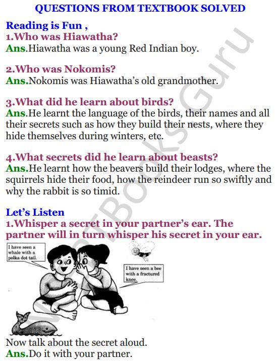 NCERT Solutions for Class 4 English Unit-7 Poem Hiawatha 1