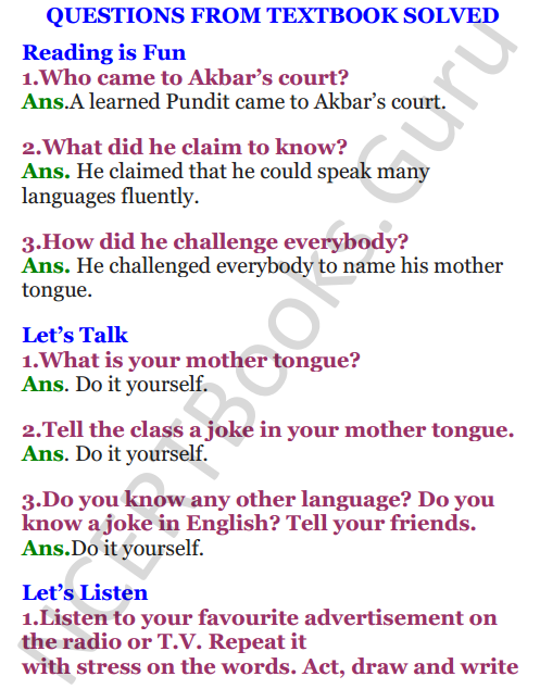 NCERT Solutions for Class 4 English Unit-7 The scholar's mother tongue 1