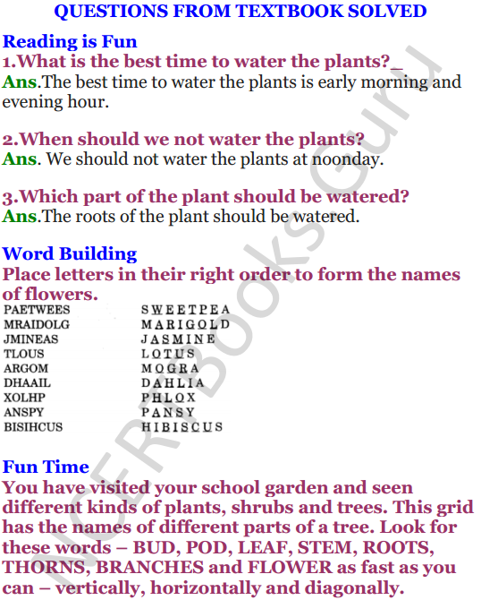 NCERT Solutions for Class 4 English Unit-8 Poem A watering rhyme 1