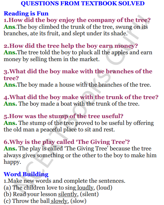 NCERT Solutions for Class 4 English Unit-8 The giving tree 1