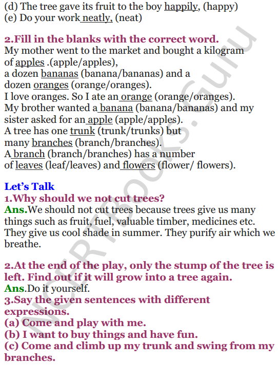 NCERT Solutions for Class 4 English Unit-8 The giving tree 2