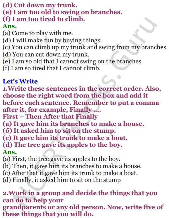 NCERT Solutions for Class 4 English Unit-8 The giving tree 3