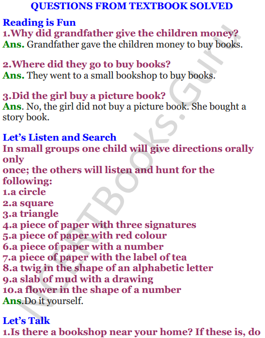 NCERT Solutions for Class 4 English Unit-9 Going to buy a book 1