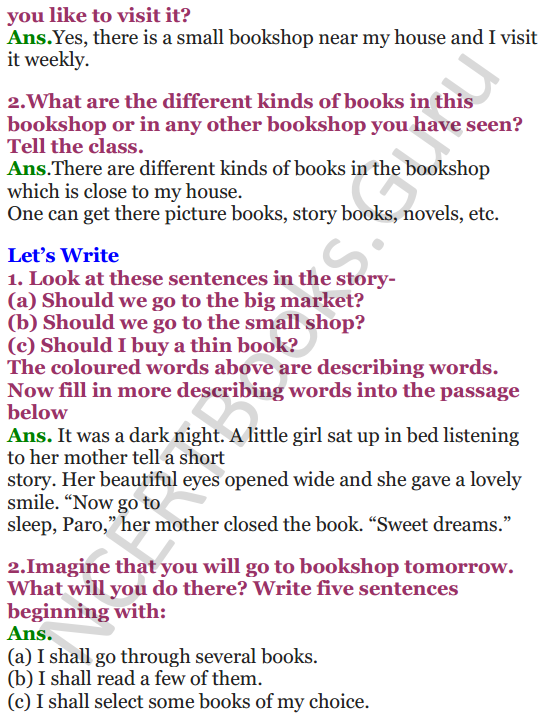 NCERT Solutions for Class 4 English Unit-9 Going to buy a book 2