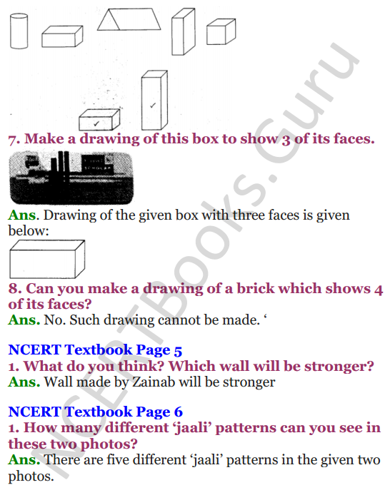 NCERT Solutions for Class 4 Mathematics Chapter-1 Building With Bricks 3