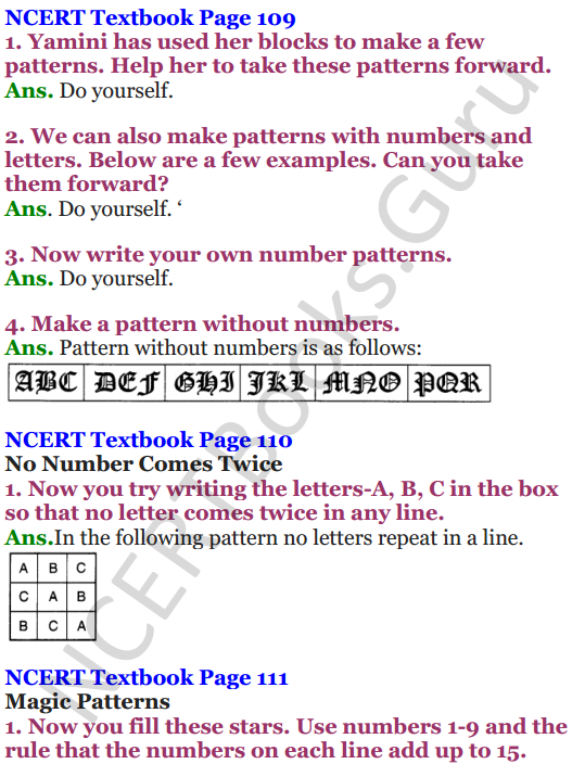 NCERT Solutions for Class 4 Mathematics Chapter-10 Play With Patterns 3