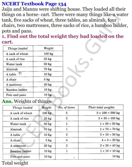 NCERT Solutions for Class 4 Mathematics Chapter-12 How Heavy How Light 1