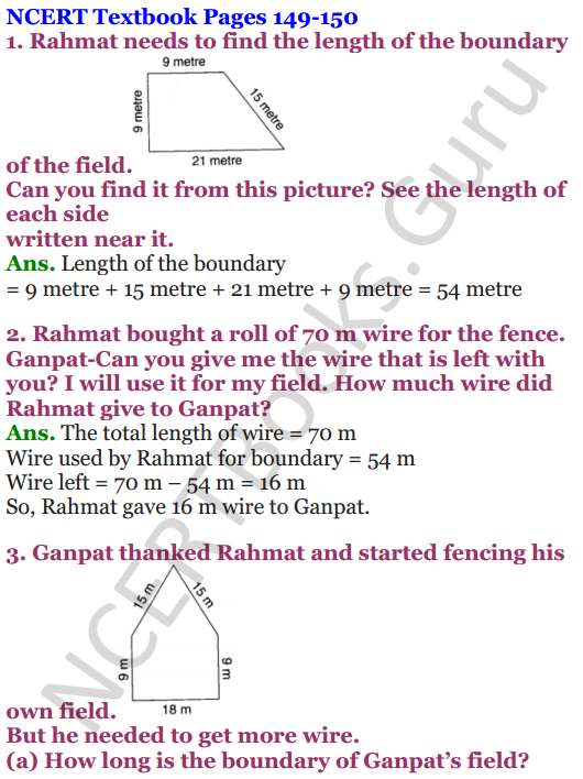 NCERT Solutions for Class 4 Mathematics Chapter-13 Fields And Fences 1