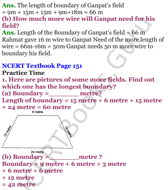 NCERT Solutions for Class 4 Mathematics Chapter-13 Fields And Fences 2