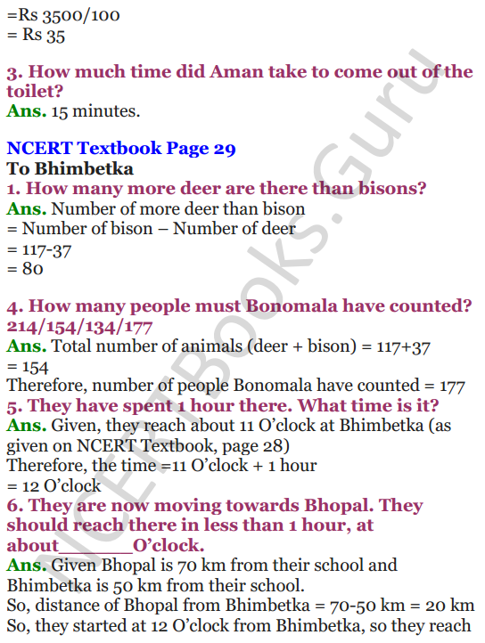 NCERT Solutions for Class 4 Mathematics Chapter-3 A Trip To Bhopal 4