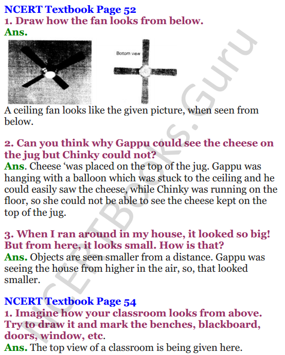 NCERT Solutions for Class 4 Mathematics Chapter-5 The Way The World Looks 1