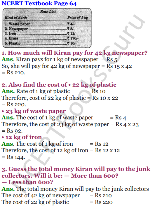 NCERT Solutions for Class 4 Mathematics Chapter-6 The Junk Seller 4