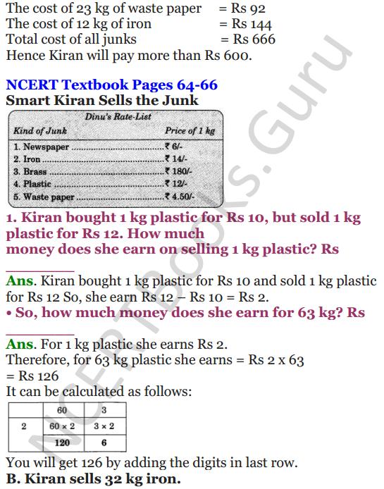 NCERT Solutions for Class 4 Mathematics Chapter-6 The Junk Seller 5