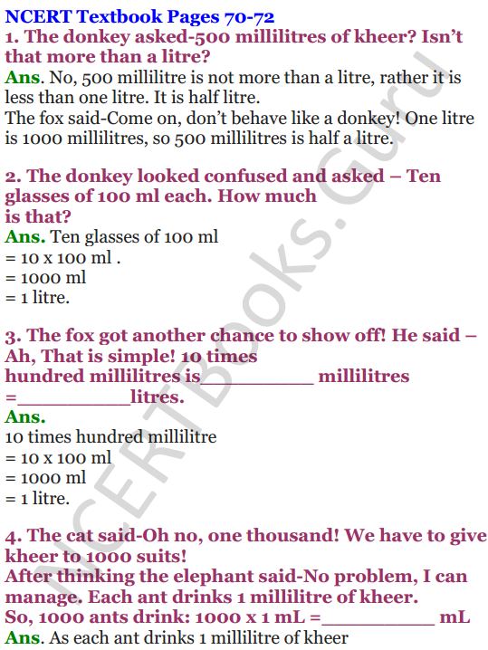 NCERT Solutions for Class 4 Mathematics Chapter-7 Jugs And Mugs 1