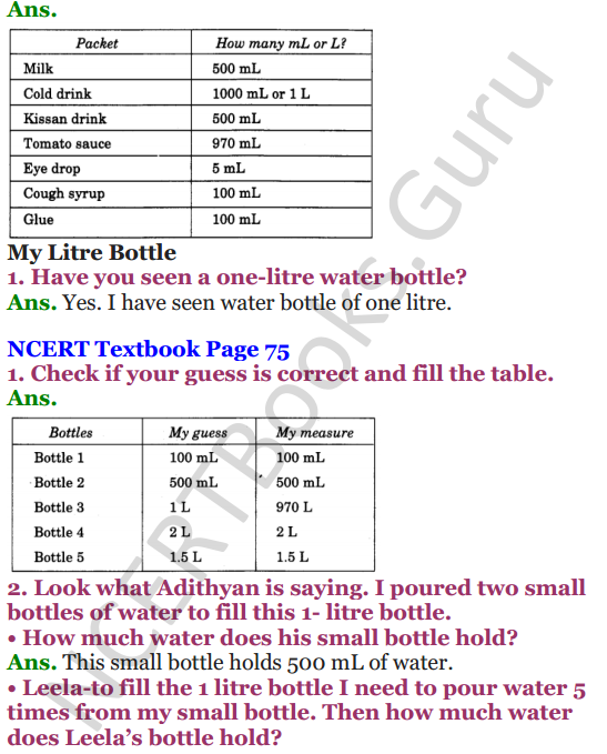 NCERT Solutions for Class 4 Mathematics Chapter-7 Jugs And Mugs 3