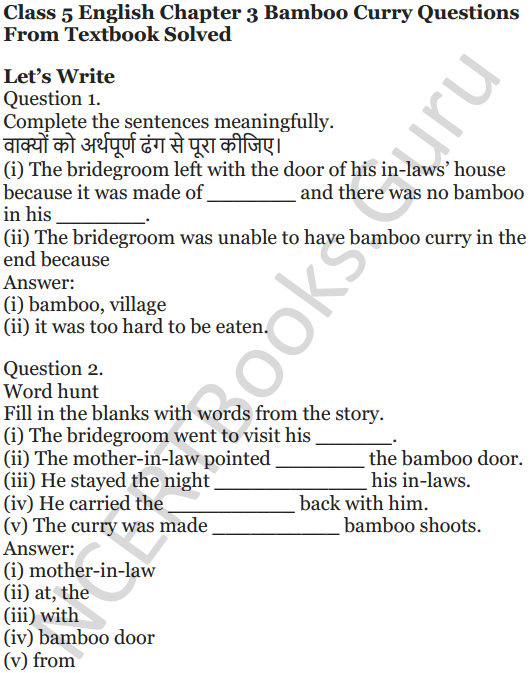 NCERT Solutions for Class 5 English Unit 1 Chapter 3 Bamboo Curry 1