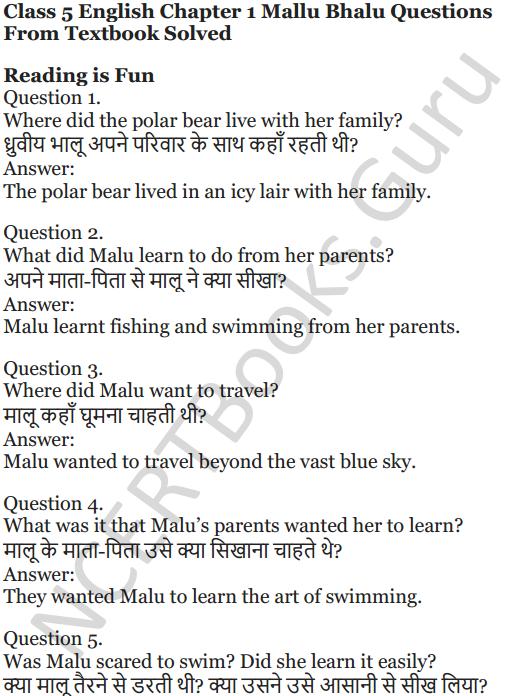NCERT Solutions for Class 5 English Unit 10 Chapter 1 Mallu Bhalu 1