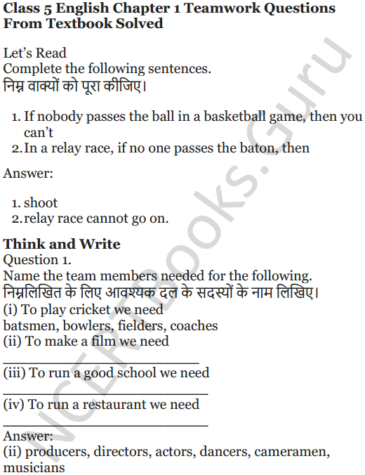 NCERT Solutions for Class 5 English Unit 2 Chapter 1 Teamwork 1