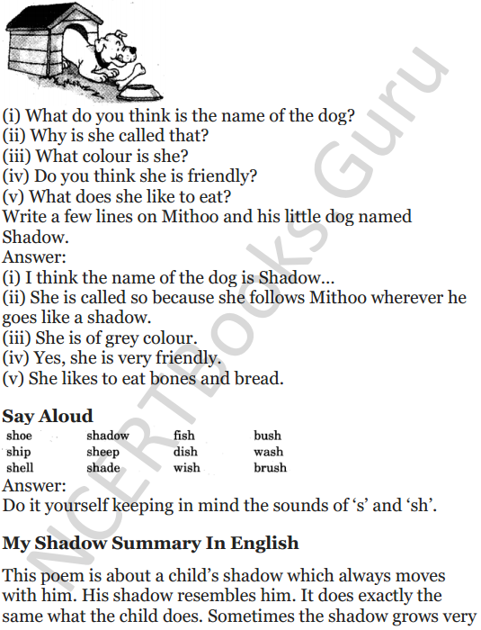NCERT Solutions for Class 5 English Unit 3 Chapter 1 My Shadow 6