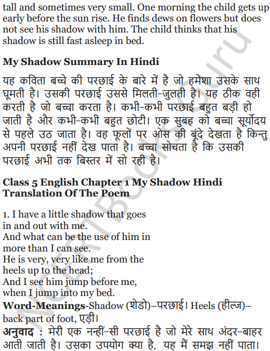 NCERT Solutions for Class 5 English Unit 3 Chapter 1 My Shadow 7