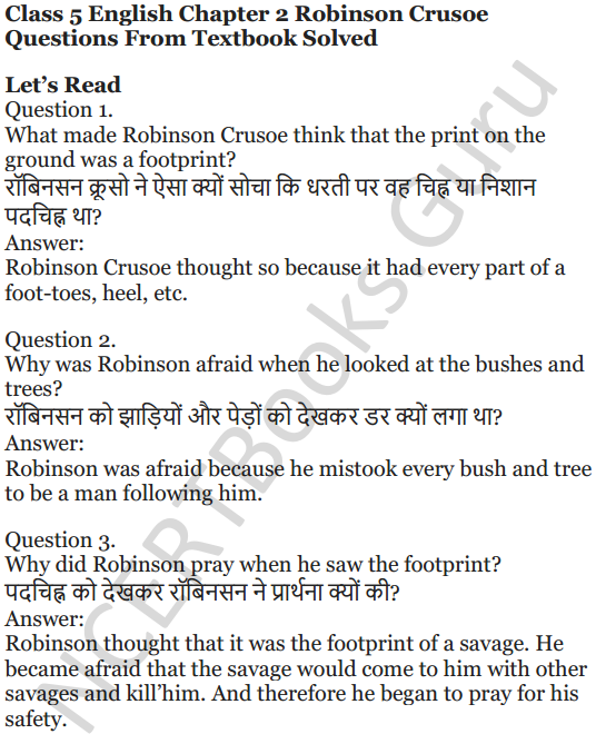 NCERT Solutions for Class 5 English Unit 3 Chapter 2 Robinson Crusoe 1