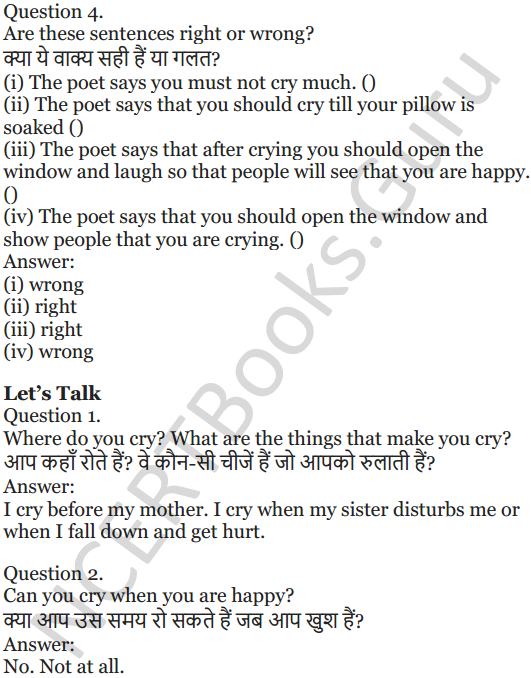 NCERT Solutions for Class 5 English Unit 4 Chapter 1 Crying 2