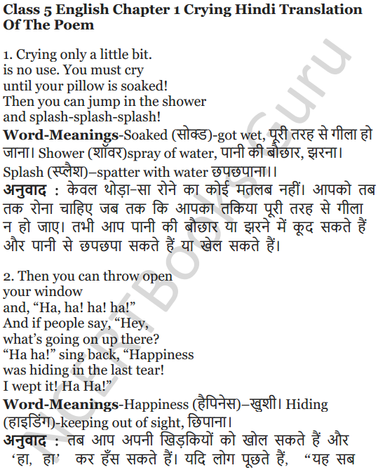 NCERT Solutions for Class 5 English Unit 4 Chapter 1 Crying 6