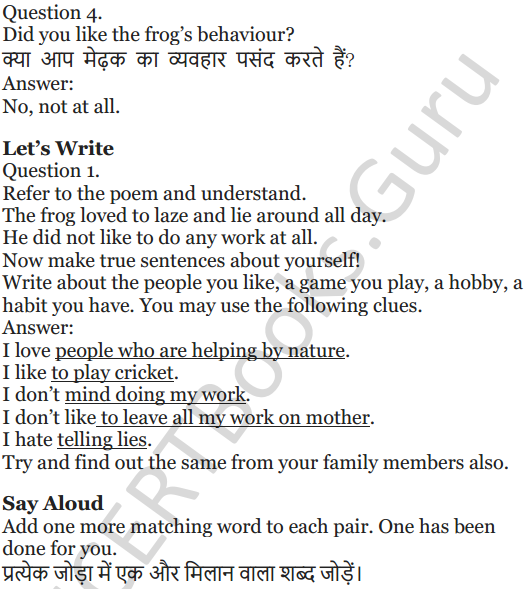 NCERT Solutions for Class 5 English Unit 5 Chapter 1 The Lazy Frog 2