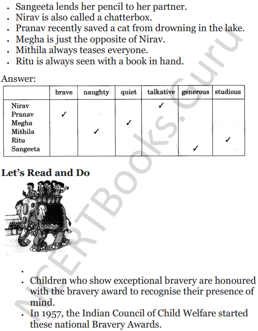 NCERT Solutions for Class 5 English Unit 6 Chapter 1 Class Discussion 4