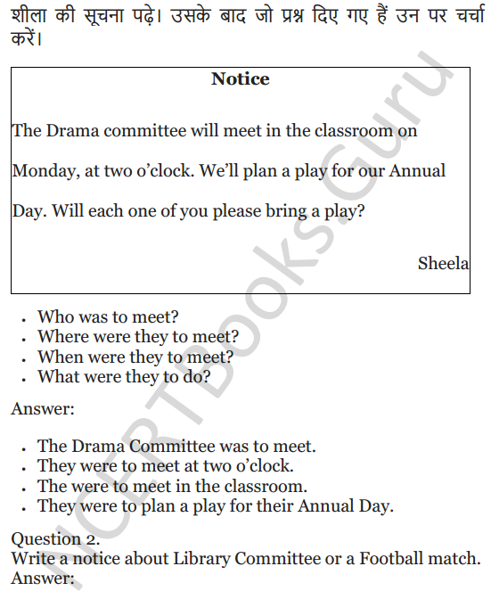NCERT Solutions for Class 5 English Unit 6 Chapter 1 Class Discussion 6