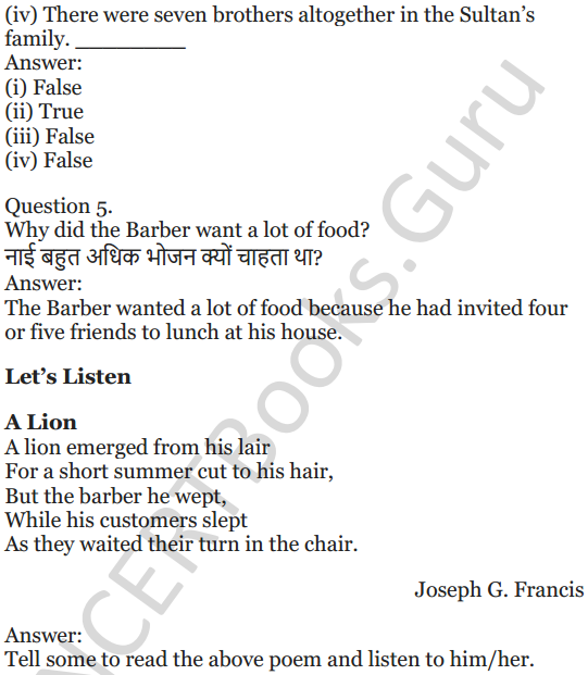 NCERT Solutions for Class 5 English Unit 6 Chapter 2 The Talkative Barber 2