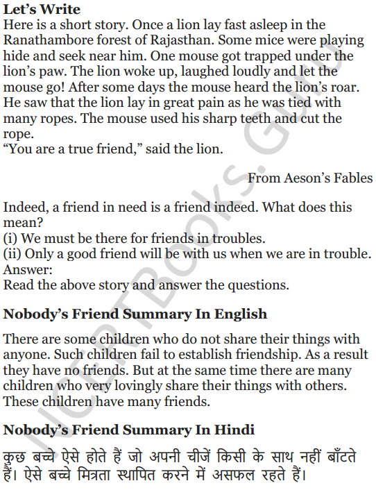 NCERT Solutions for Class 5 English Unit 8 Chapter 1 Nobody's Friend 5