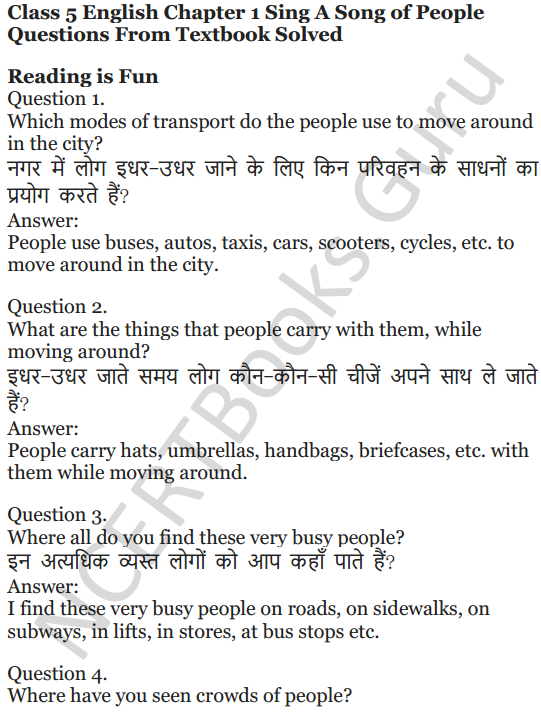 NCERT Solutions for Class 5 English Unit 9 Chapter 1 Sing A Song of People 1